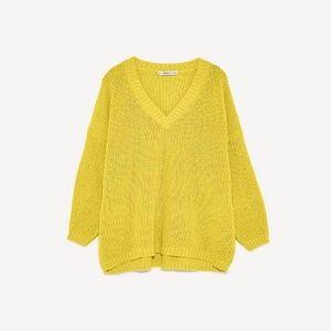 Zara Oversized Knit Yellow Sweater